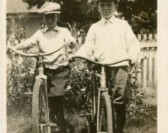 vintage photo 1920 Boys Wear Jeff Caps Ride Bikes Together