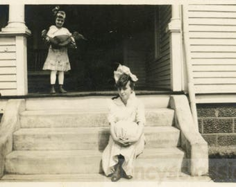 Vintage photo 1919 Little Girl and Dog Tea Party w Her Teddy Bear