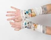 White and beige ruffled cuffs, Stretchy wrist cuffs, lace ruffles, Mismatched patchwork cuffs, Fall Winter accessory, MALAM