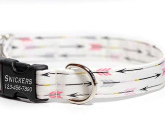 Laser Engraved Arrows Dog Collar, Personalized Arrows Collar - Tejas (shown with optional engraving)