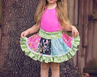SALE Stripwork Skirt - Twirly circle skirt with ruffle - PDF Sewing Pattern Instant Download - 6 months - 14 tween