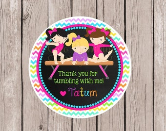 Gymnastics Birthday Party Favor Tags or Stickers / Pink, Purple and Rainbow on Chalkboard Background / Choose Hair & Skin Color / Set of 12
