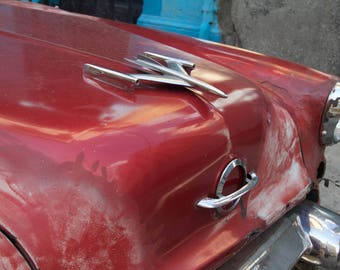 Photograph classic Cuban car vintage automobile red silver hood ornament art Havana abstract car photo wall decor travel art original