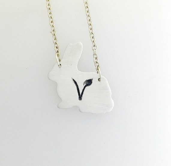 V Symbol Rabbit Necklace-Vegan Necklace-Vegetarian Necklace-Plant Based-Vegan Jewelry-Vegan Gift-Rabbit Necklace-Birthday-Veganniversary