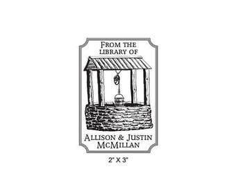 Super Summer Sale Wishing Well Personalized Ex Libris Bookplate Rubber Stamp M12