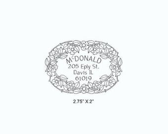Xmas in July Floral Garland Oval Return Address Rubber Stamp AD355