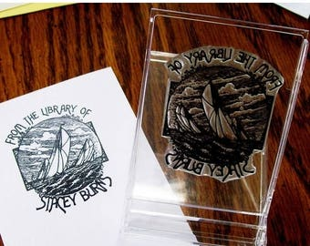 Xmas in July Personalized Sailing Ex Libris Bookplate Rubber Stamp A02