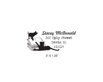 Xmas in July Cats Play on Books Custom Return Address Rubber Stamp AD341