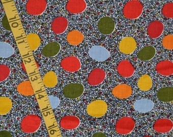 VINTAGE fabric MCM novelty fabric circle dots day dress fabric 5 yards