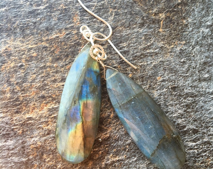 Long Labradorite and Sterling Silver Earrings Gift Flash Rainbow Talisman Good Luck