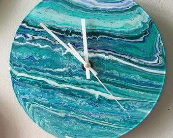 Fluid acrylic abstract clock on upcycled vinyl. Unique decor