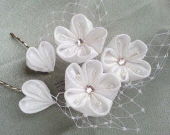 Kanzashi - Bridal Fabric Flower Hair Comb And Heart Hair Pins Tsumami Kanzashi