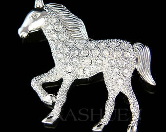 Swarovski Crystal Cowgirl Rider Horse Western Equestrian Rodeo Stallion Pin Brooch Jewelry Christmas Mother's Day Best Friends Birthday Gift