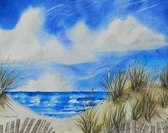 Sand Dunes Beach Fence Watercolor Painting with a Pathway Thru The Dunes to Beautiful Ocean Scenery of Sand and Sea, Blue Skies Fluffy Cloud