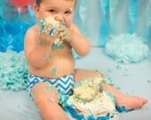Necktie or Bowtie, Diaper Cover Set Bright Blue Chevron Photography Prop, Dressy Baby Boy
