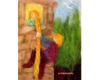 RAMPUZEL-GREEM'S FAIRYTALE-blessing card -print of my wool painting for children