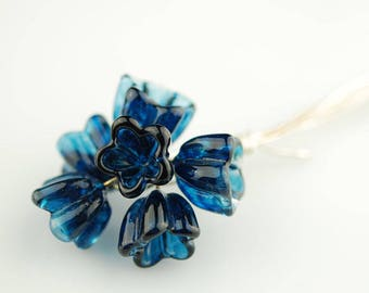 Handmade Transparent Blue Glass Bellflower Lampwork Headpins by Lara