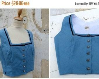 ON SALE Vintage 1970/70s German / Austrian/Tyrol blue dirndl corset bustier top size M/L