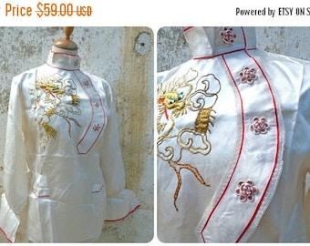 ON SALE Vintage Antique Asian 1930s  embroidered cream satin pajama top /Dragon
