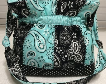 Light blue / Black patchwork paisley handbag / purse /tote