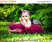 SUMMER SALE 20% OFF Girls Tutu and Wings Custom Fairy Costume, Black Cherry Garden Pixie, 3 piece set, 11'' pixie tutu, handmade fairy wings