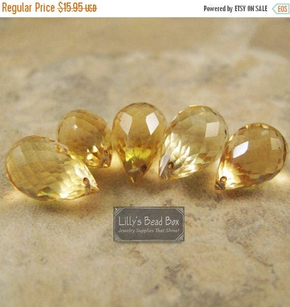 SALE 50% off - Five Citrine Beads, Large Faceted Briolettes, 5 Stones, 7x5mm-11x6mm, November Birthstone, Jewelry Supplies (L-Ci1)