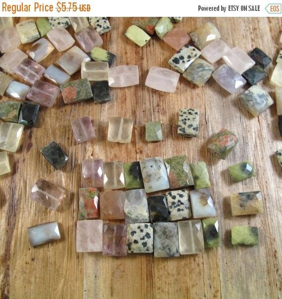 Summer SALEabration - 20 Assorted Gemstones, Twenty Natural Gemstone Chicklet Beads for Making Jewelry (L-Ch2)