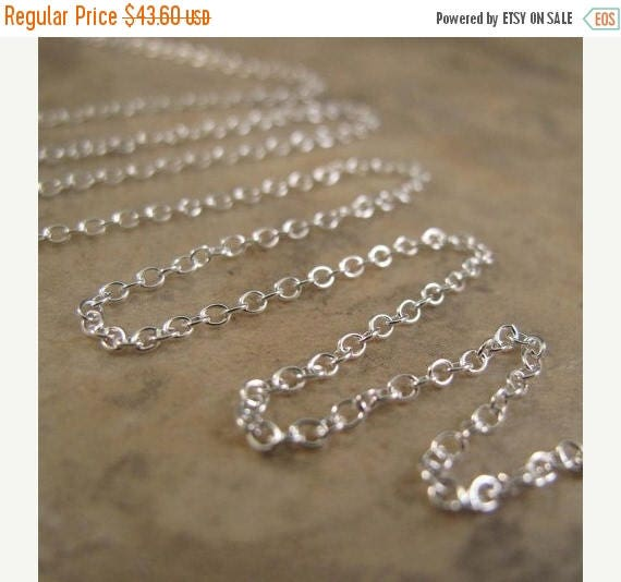 Summer SALEabration - 10 Feet of Thin Silver Chain, .925 Sterling Silver, 2mm Smooth Cable Chain, Strong & Delicate Chain for Jewelry (17s)