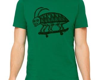 Skate Beetle Hand Carved   Woodblock Printed T Shirt