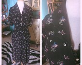 RESERVED Vintage 1940s Dress black floral baskets novely print  L XL Swing Rockabilly Pinup 40s