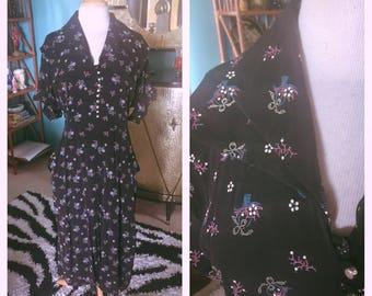 Vintage 1940s Dress black floral baskets novely print  L XL Swing Rockabilly Pinup 40s