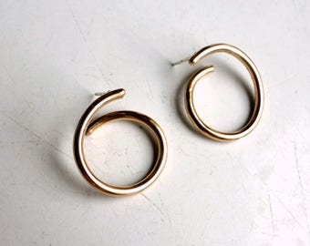 Heavy 14k Gold Fill Spiral Hoop Earrings