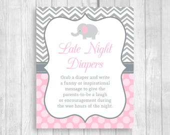 Late Night Diapers Printable 8x10 Printable Elephant Baby Shower Sign in Light Pink & Gray - Funny Advice for Mom and Dad - Instant Download