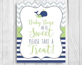 Baby Boys are So Sweet Please Take a Treat Printable 5x7, 8x10 Boy's Whales Baby Shower Sign - Navy Blue, Green, Gray - Instant Download