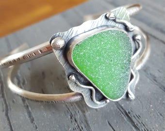 Cuff Bracelet Sea Glass Jewelry Sea Glass Bracelet Kelly Green Sea Glass Cuff Bracelet Sea Glass Jewelry OOAK - B-275