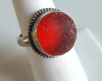 RED Sea Glass Jewelry Red Sea Glass Red Sea Glass Ring Gift for Her Christmas Gift Gifts for Women Sterling Silver Ring Size 8 - R-159