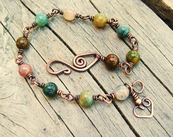 Fancy Jasper Wire Wrapped link bracelet with a bear hug heart charm