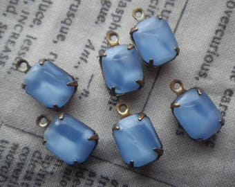 Vintage Blue Moonstone Cushion Top 10x8mm Octagon Brass Ox Glass Drops 6 Pcs