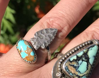 Sterling Silver, Precious Metal Clay and turquoise adjustable ring. Median Size 7