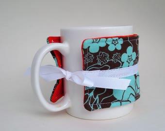Floral Aqua Blue Brown and Orange Coffee Cup Wrap Cozy
