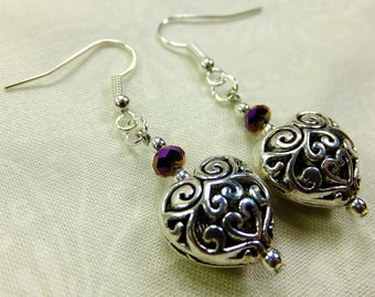 Romantic Dangle Earrings Tiny Purple Cut Glass Beads and Silver Plated Puffed Filigre Hearts with Fish Hook Earwires