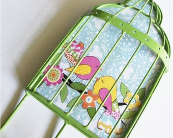Bird Cage Jewelry Hook, Clothes Hanger, Teen Decor, Lime Green Hanger, Hooks, Up Cycled Hook, Upcycled Hanger, Girls Room READY TO SHIP