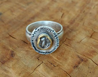 Ancient Coin Ring, Statement Ring, Ancient Coin Jewelry,  Athena Owl Ring, gold and silver ring