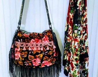 Pink and black floral velvet boho bag with fringe Victorian festival bag