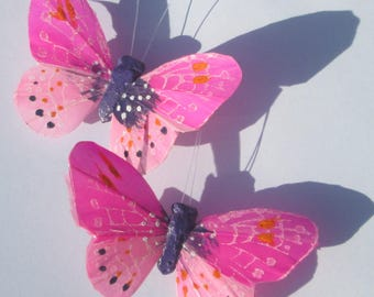 Butterfly Hair Clips Pink feather butterfly Pink Butterflies Hair Ornament hand made hair clips by Ziporgiabella