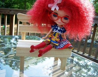 Unfinished Wood Park Bench for 1/6 Playscale YOSD Blythe Pullip Ann Estelle Doll Bear
