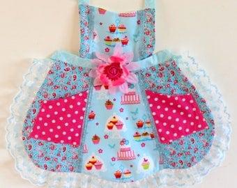 Cupcake Party Apron, toddler apron, girls apron