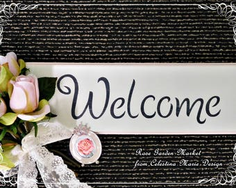 Welcome Wood Wall Sign, Hand Cut, Routed, Distressed, Hand Painted and Stenciled, Wall Decor, Shabby Chic, Light Pink Edge, Cottage, ECS
