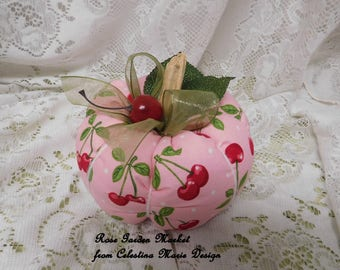 Cherry Fabric Pumpkin Home Decor, Hand Sewn and Created with Real Pumpkin Stems, Fall Decor, Autumn Home Accent, ECS