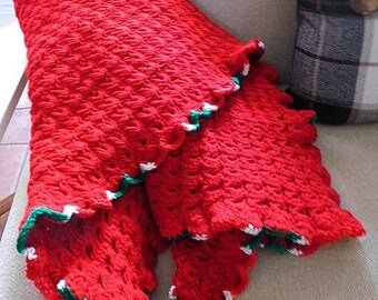 Christmas Red Hand Crocheted Throw with Red, Green and White Ruffle Trimmed Edge, Holiday Throw, Signature Lace Design, Broomstick Lace, ECS